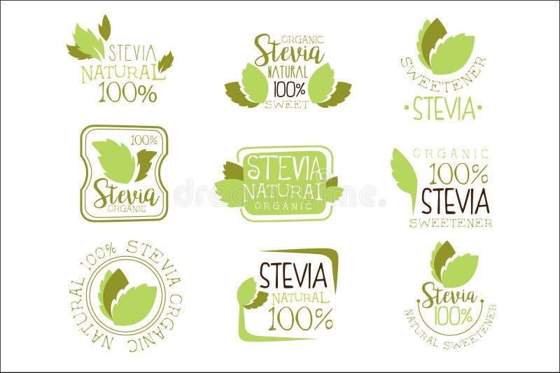Folhas naturais de Logo Design Templates With Plant da cor do aditivo e do Sugar Substitute Set Of Green do edulcorante do alimen ilustração do vetor