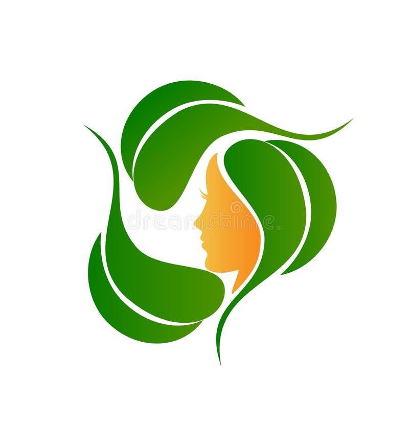 Folhas naturais e logotipo da forma ilustração do vetor