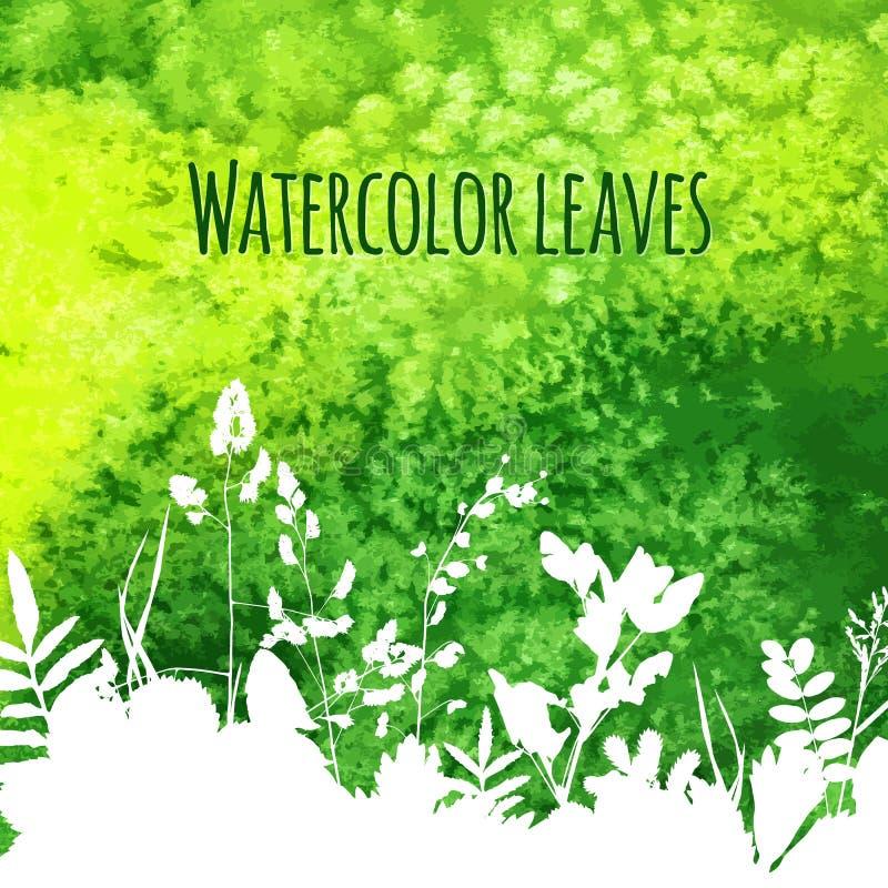Folhas no fundo da aquarela ilustração stock
