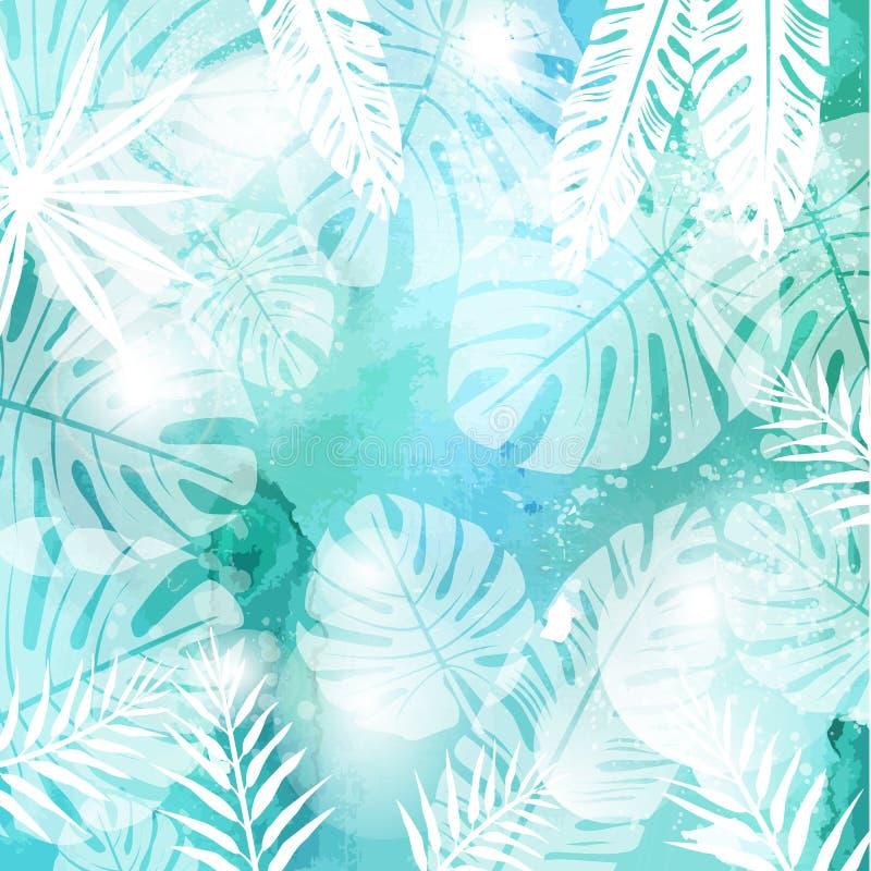 Folhas no fundo verde da aquarela ilustração royalty free