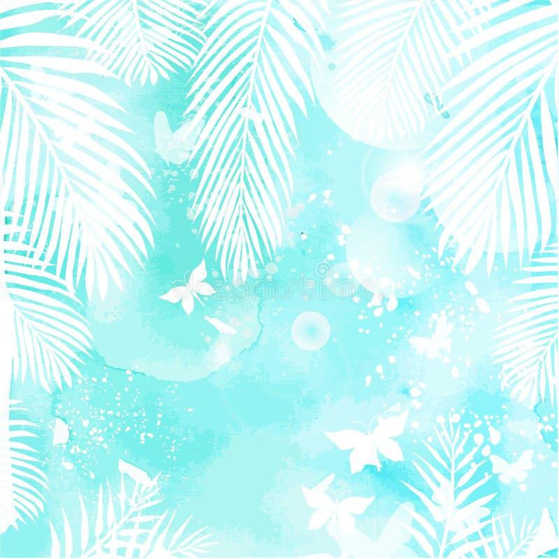 Folhas no fundo verde da aquarela ilustração do vetor