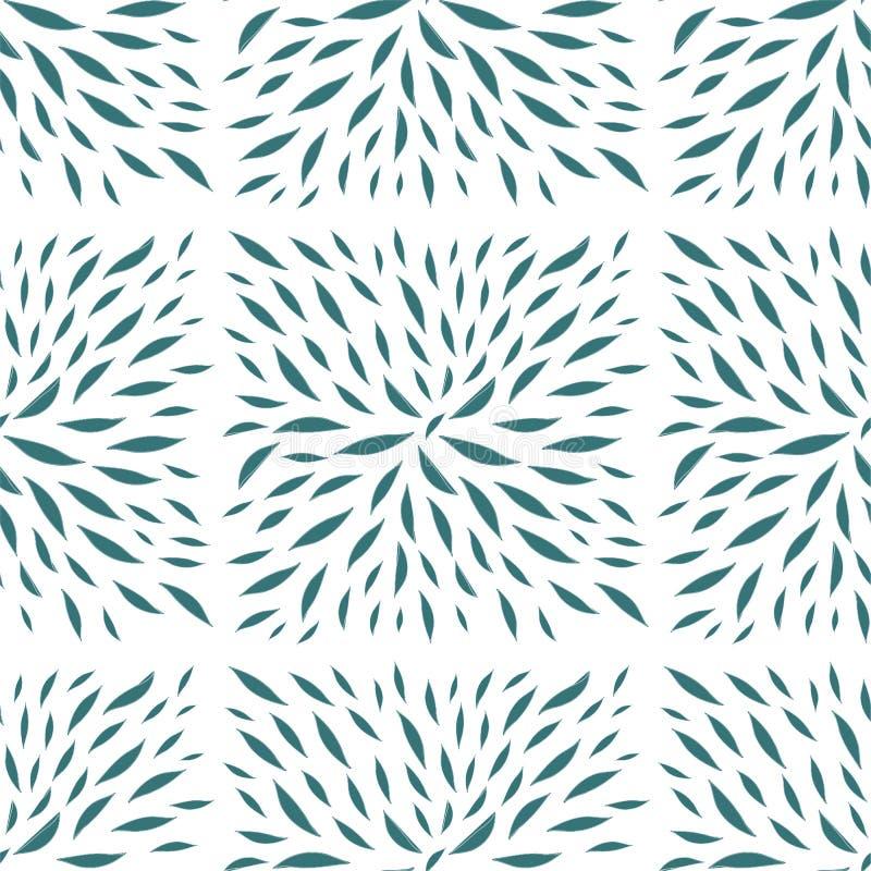 Folhas pintadas no vetor sem emenda da forma quadrada ilustração royalty free
