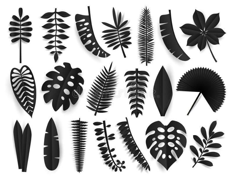 Folhas pretas tropicais do corte do papel Elemets exóticos das plantas do verão na moda com a sombra isolada no fundo branco pret ilustração royalty free
