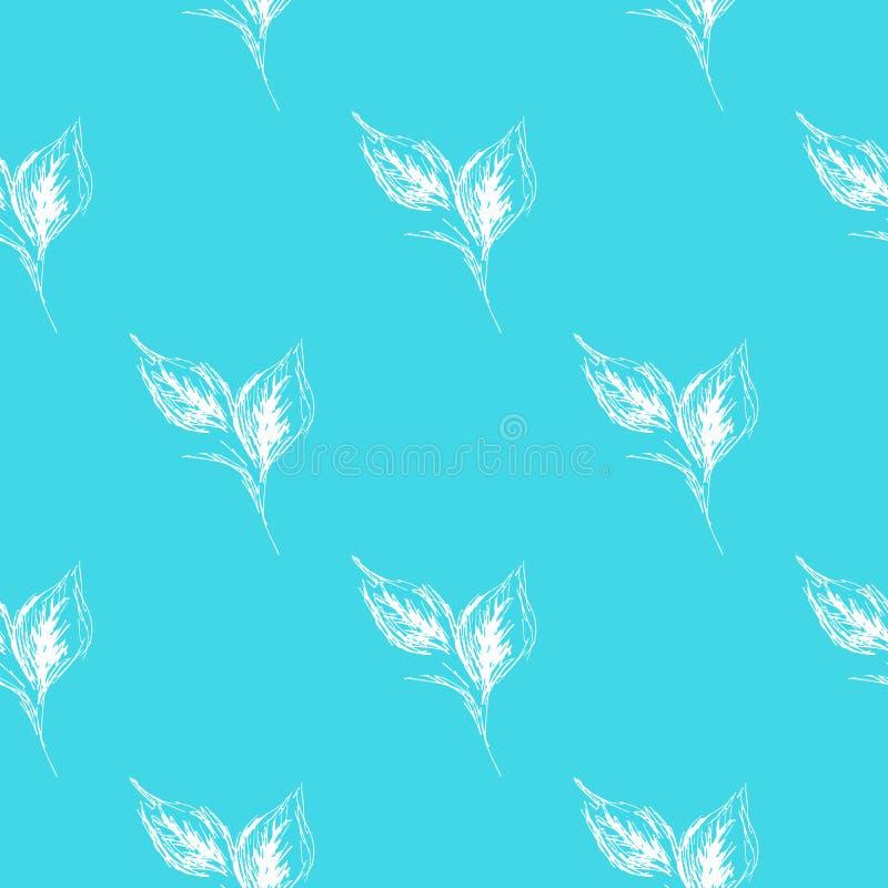 Folhas sem emenda da garatuja do esboço na linha estilo da arte no fundo azul Teste padr?o sem emenda floral do esbo?o Projeto si ilustração do vetor