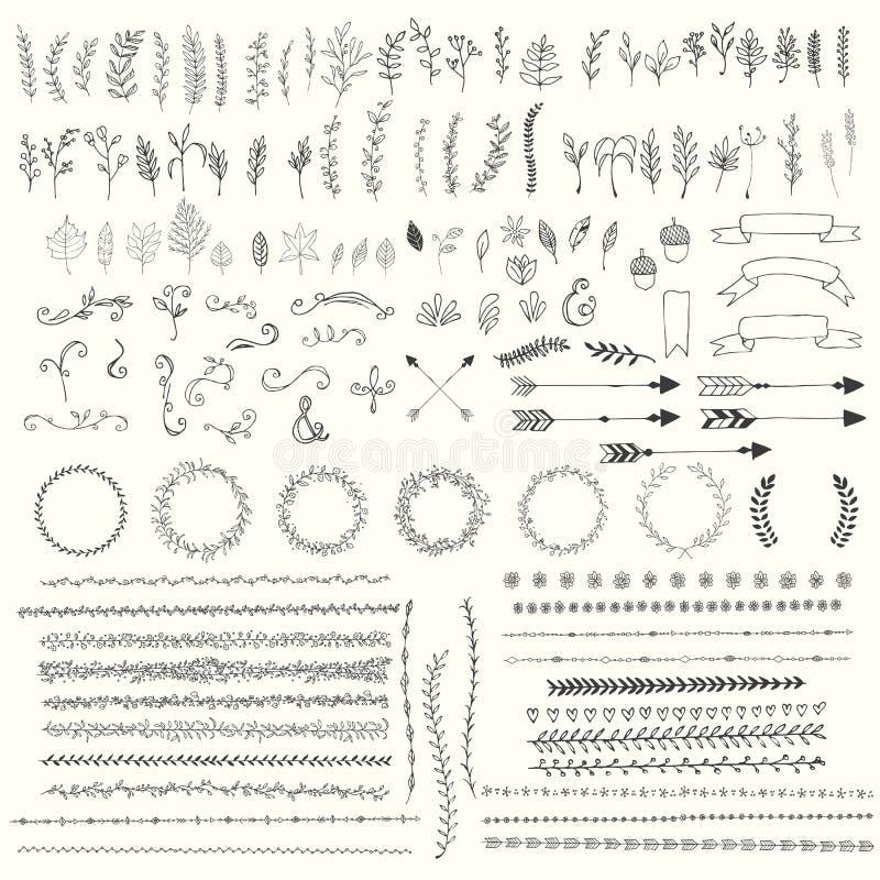 Folhas tiradas mão do vintage, setas, penas, grinaldas, divisores, ornamento e elementos decorativos florais ilustração royalty free