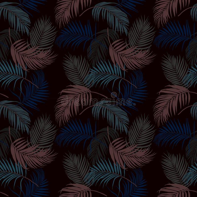 Folhas tropicais coloridas no teste padrão sem emenda escuro da noite de verão, ilustração do vetor ilustração stock