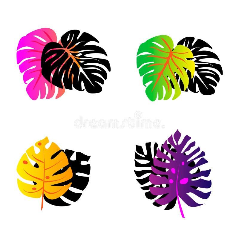 folhas tropicais com um inclinação multi-coloridas com ramo da palma da sombra ilustração stock