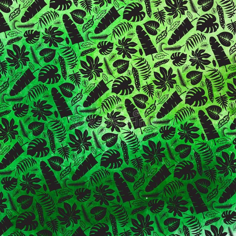 Folhas tropicais, contexto do teste padrão dos ramos Preto, aquarela ilustração stock