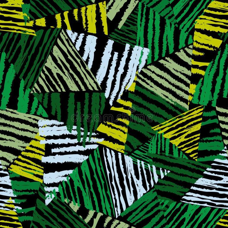 Folhas tropicais do teste padrão sem emenda abstrato, forma, interior, envolvendo o conceito no fundo preto ilustração royalty free