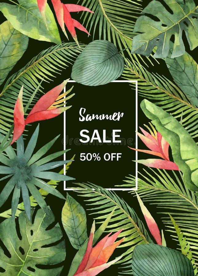 Folhas tropicais e ramos da bandeira da venda da aquarela isolados no fundo preto ilustração stock