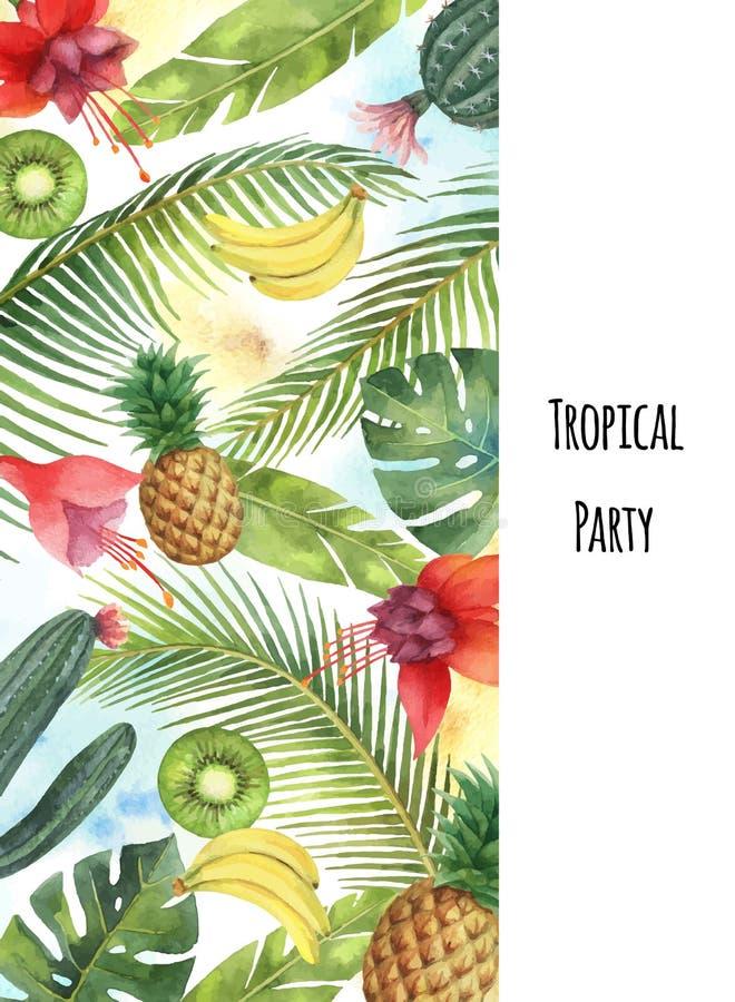 Folhas tropicais, frutos e cactos da bandeira vertical do vetor da aquarela isolados no fundo branco ilustração stock
