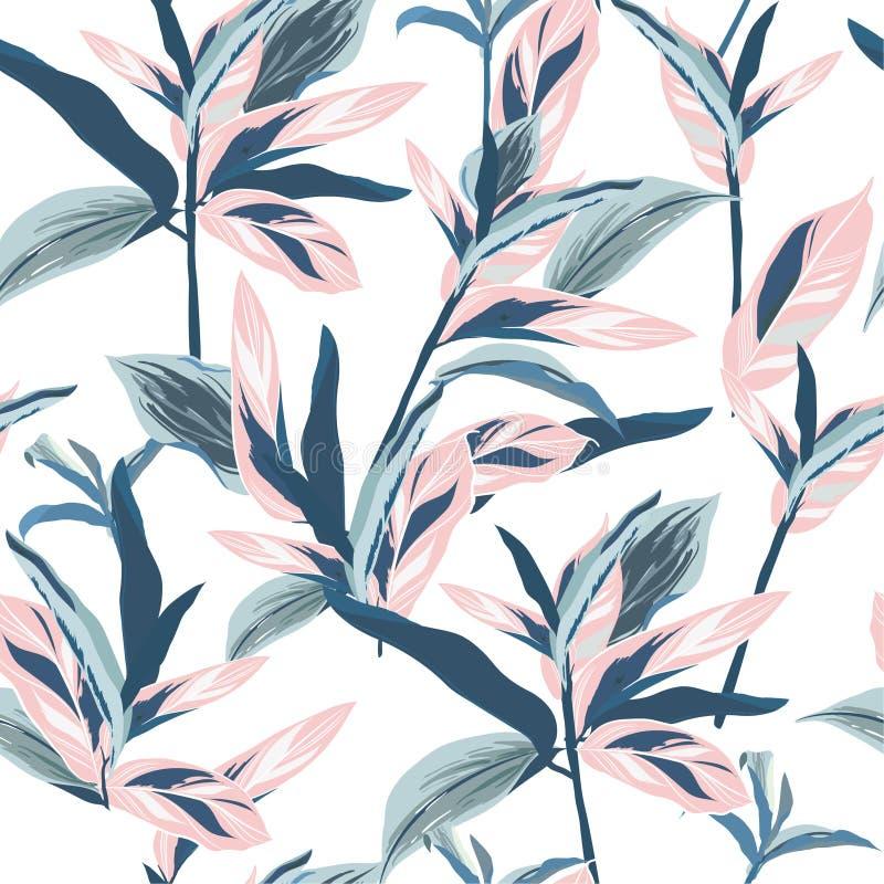 Folhas tropicais no projeto gráfico sem emenda do humor pastel com amaz ilustração royalty free