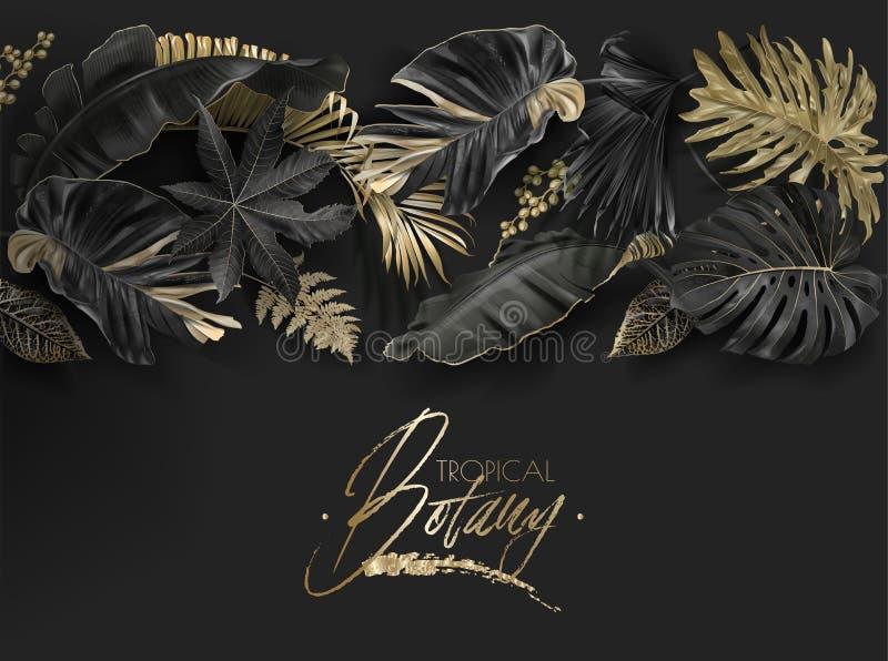 Folhas tropicais pretas e bandeira da Botânica do ouro ilustração royalty free