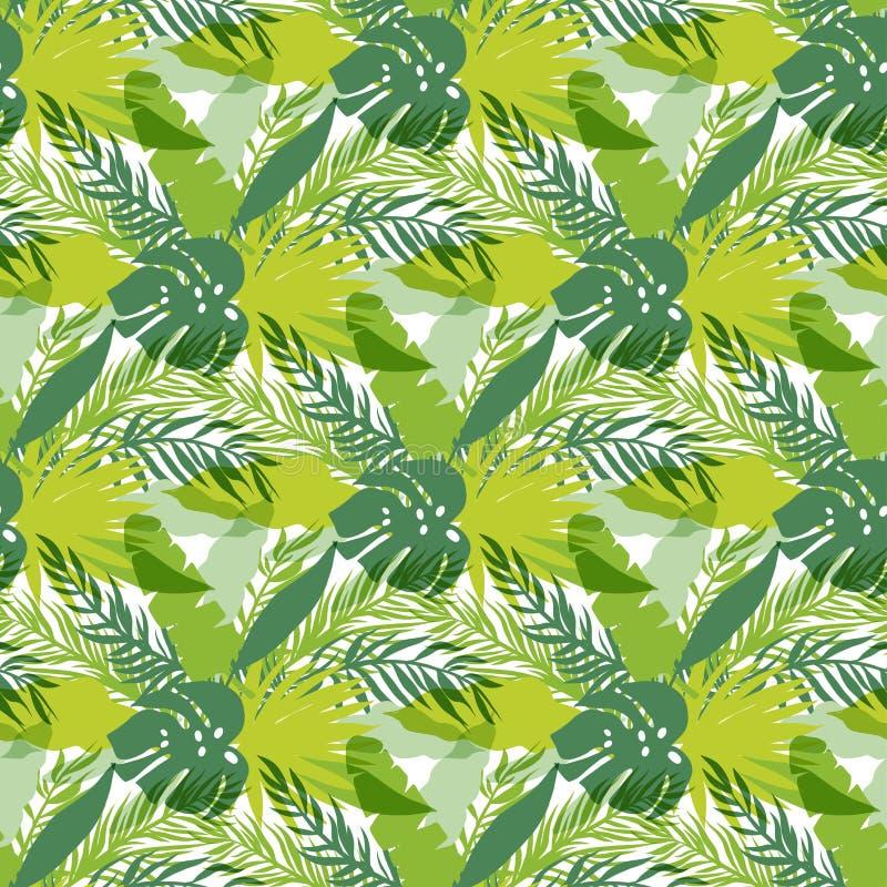 Folhas tropicais, selva densa Teste padrão detalhado, botânico sem emenda Fundo do vetor ilustração stock