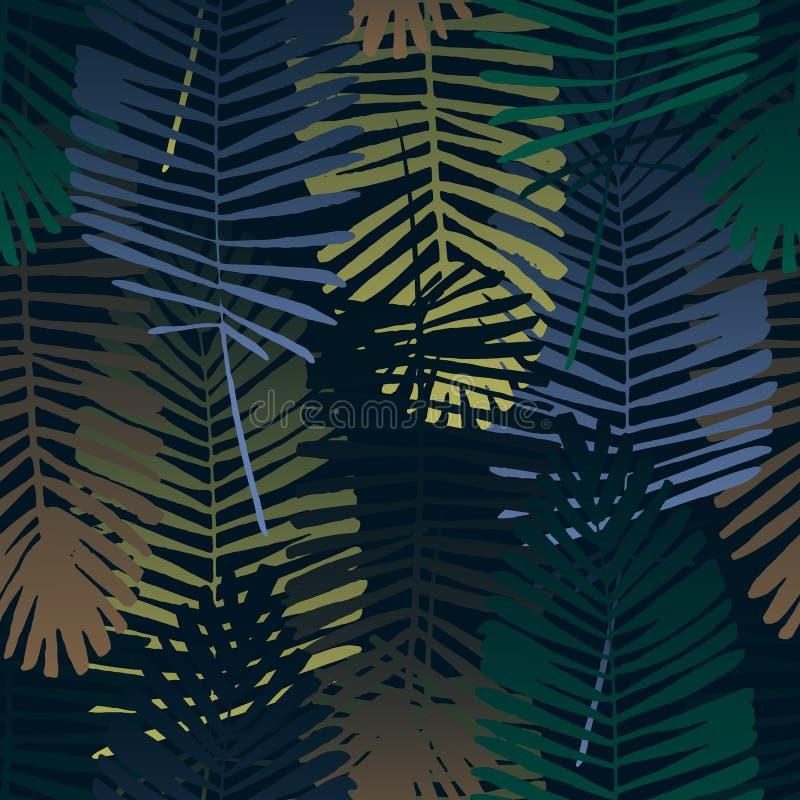 Folhas tropicais, teste padrão da selva Teste padrão sem emenda, detalhado, botânico Fundo do vetor ilustração royalty free