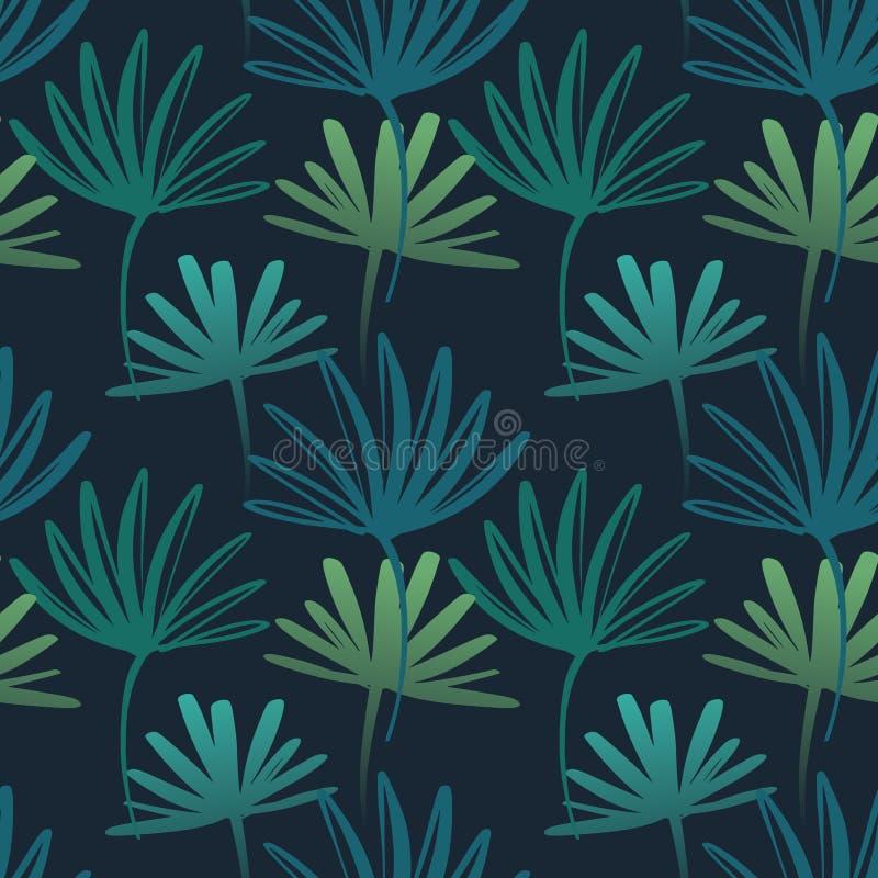 Folhas tropicais, teste padrão da selva Teste padrão sem emenda, detalhado, botânico Fundo do vetor ilustração stock