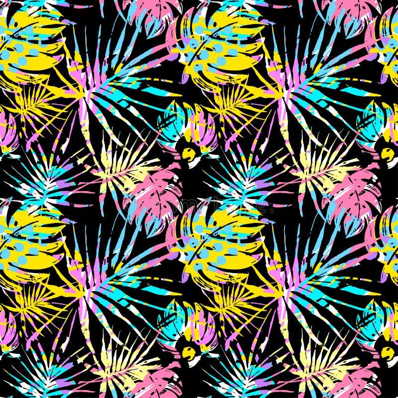 Folhas tropicais teste padrão do verão sem emenda, grunge t da garatuja de matéria têxtil ilustração royalty free