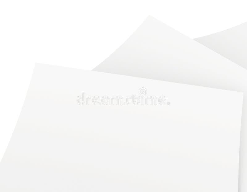 Folhas vazias do Livro Branco empilhadas na ordem ilustração do vetor
