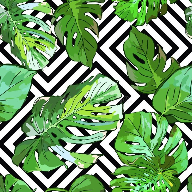 Folhas verdes da palmeira no fundo geométrico preto e branco Teste padrão sem emenda do verão do vetor ilustração do vetor