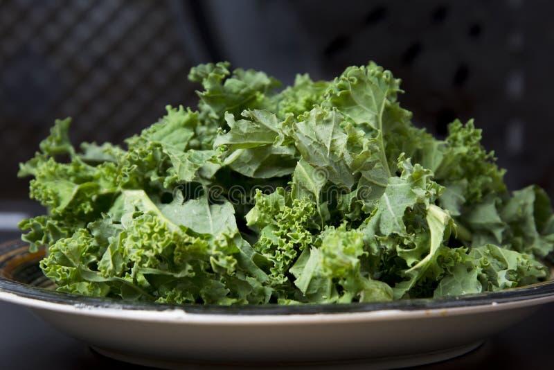 Folhas verdes frescas da couve encaracolado na tabela preta, alimento saudável do vegetariano fotografia de stock royalty free
