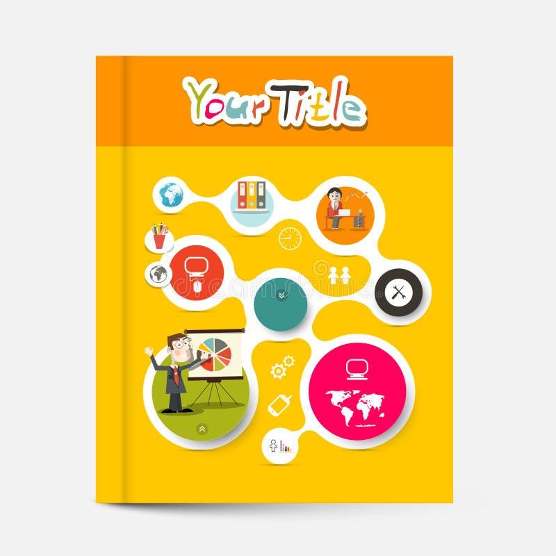 Folheto amarelo e alaranjado - tampa do vetor do livro da educação do negócio ilustração stock