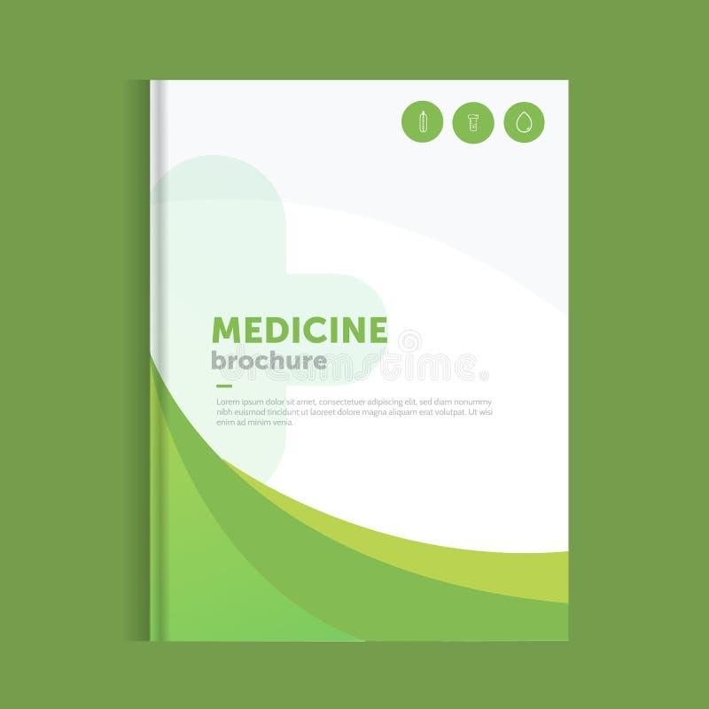 Folheto azul da medicina para anunciar com ícones do esboço Conceito da disposição da saúde ilustração royalty free