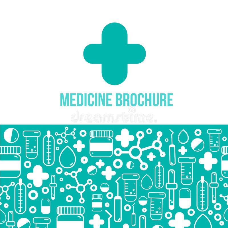 Folheto azul da medicina para anunciar com ícones do esboço Conceito da disposição da saúde ilustração stock