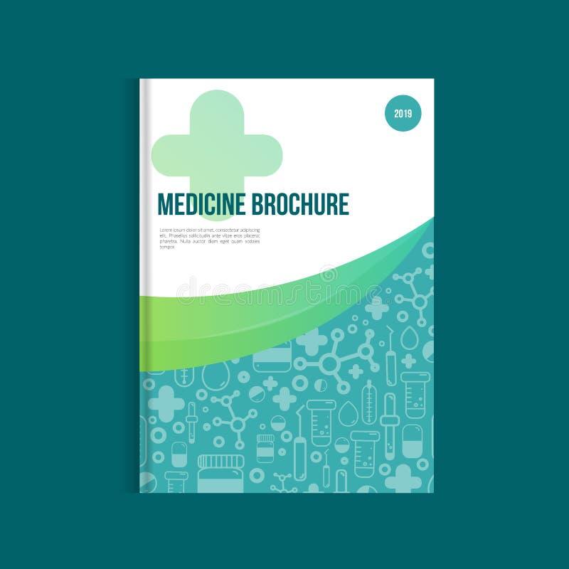 Folheto azul da medicina para anunciar com ícones do esboço Conceito da disposição da saúde ilustração do vetor