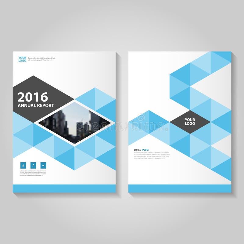 Folheto azul do folheto do informe anual do vetor ilustração royalty free