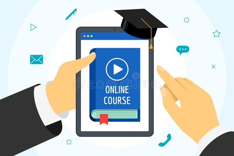 Folheto com a mão, com o livro de capa azul Conceito de educação à distância com o botão de vídeo play e a graduação ilustração do vetor