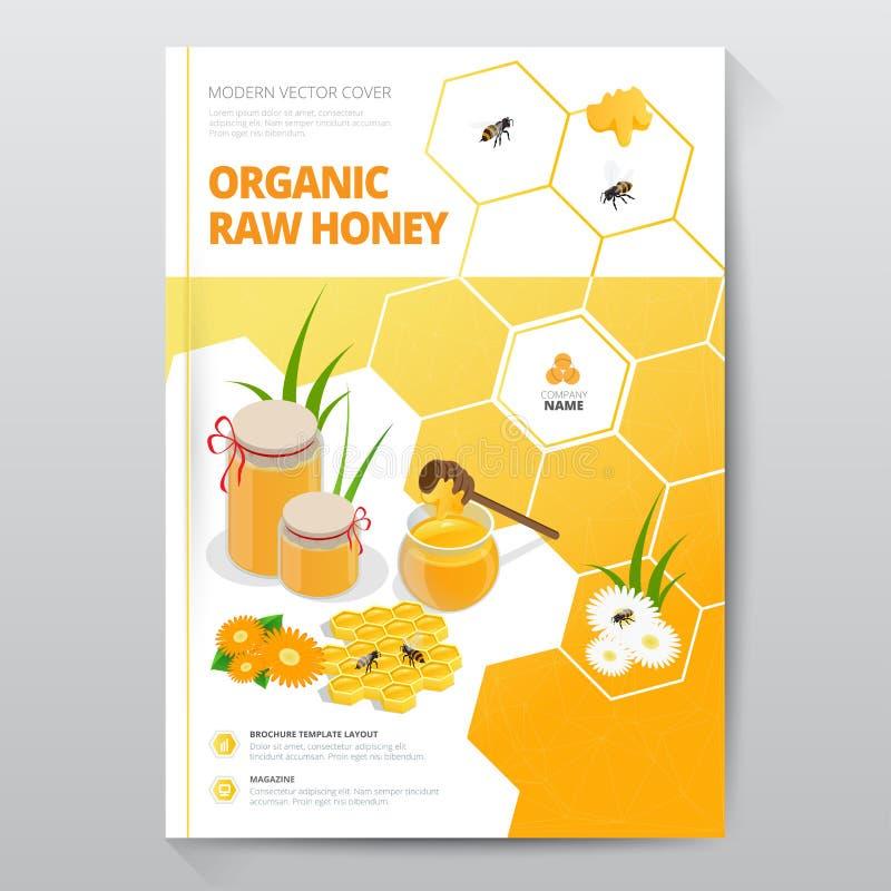 Folheto cru orgânico do designe do mel Composição abstrata Projeto da tampa do folheto A4 do mel Modelo extravagante da folha do  ilustração royalty free