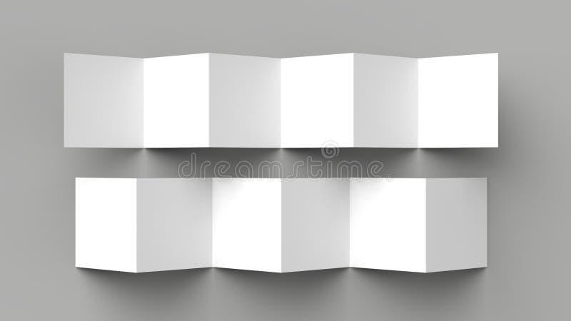 folheto de 12 páginas, dobra de acordeão de 6 painéis - folheto do quadrado da dobra de Z ilustração stock