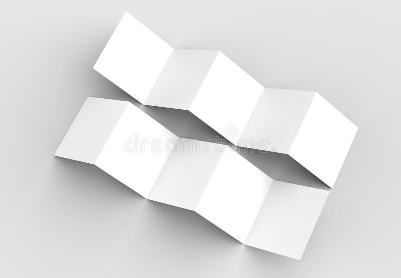 folheto de 10 páginas, zombaria do folheto do quadrado da dobra de acordeão de 5 painéis acima ilustração stock