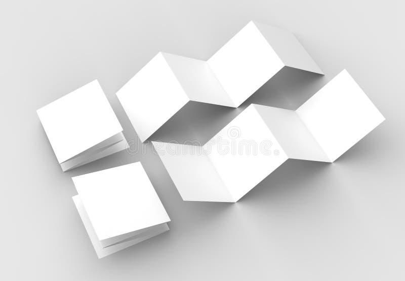 folheto de 8 páginas, zombaria do folheto do quadrado da dobra de acordeão de 4 painéis acima mim ilustração royalty free