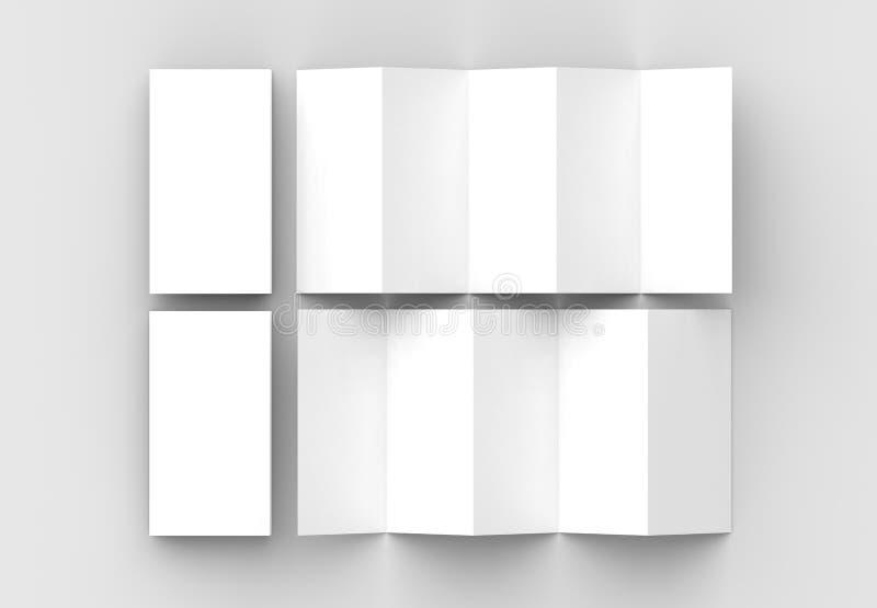 folheto de 10 páginas, zombaria vertical u do folheto da dobra de acordeão de 5 painéis ilustração do vetor
