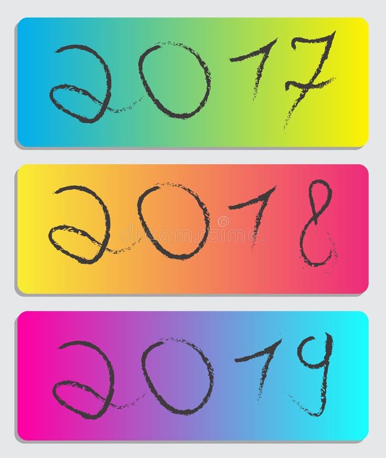 2017-2018-2019 folheto do ano imagens de stock