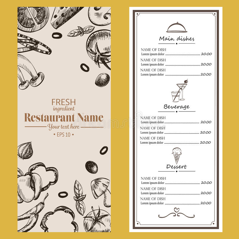 Folheto do café do restaurante do menu do alimento templa retro de tiragem do projeto ilustração do vetor