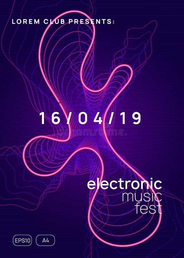 Folheto do clube neon Música de dança eletrônica Dj do partido Trance Eletroni ilustração stock