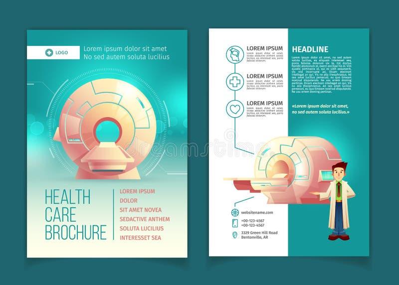 Folheto do exame médico do vetor, conceito dos cuidados médicos ilustração do vetor