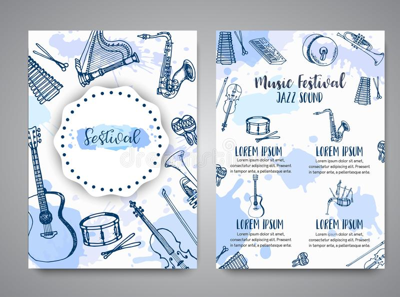 Folheto do festival de música, projeto do inseto do jazz Entregue o cilindro, o piaono, o violino, a guitarra e o saxofone tirado ilustração do vetor