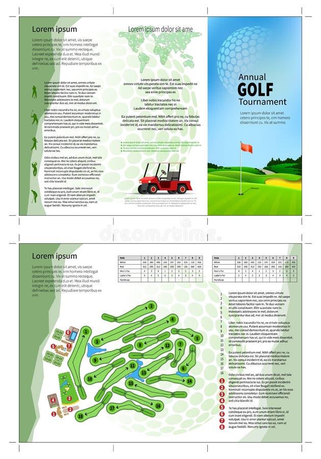Folheto do golfe ilustração royalty free