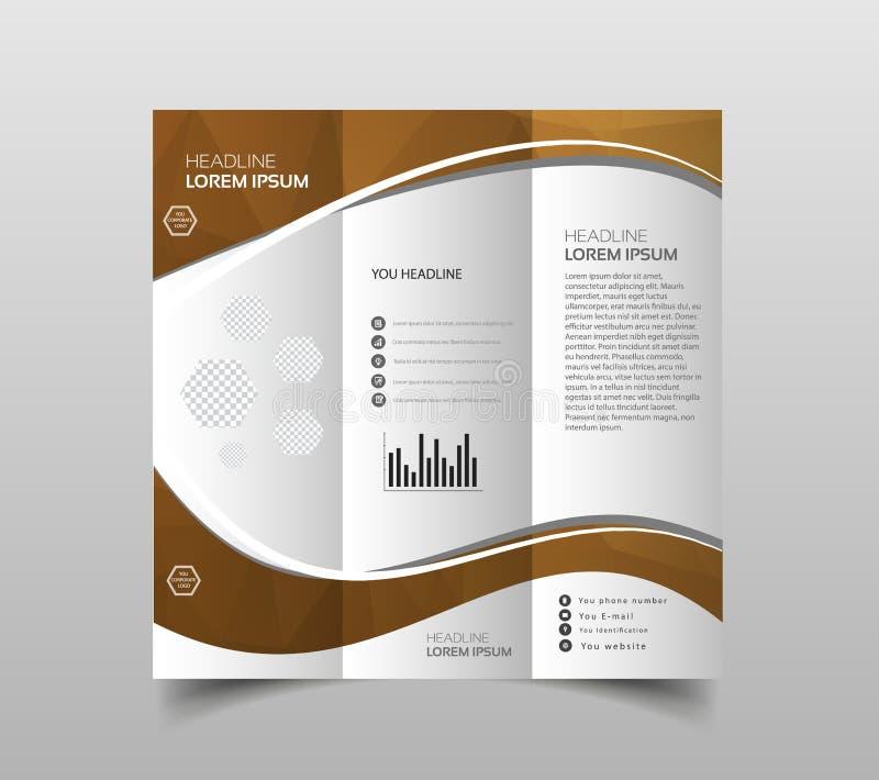 Folheto do negócio Projeto do insecto Molde da dobra dos folhetos 3 tampa ilustração stock