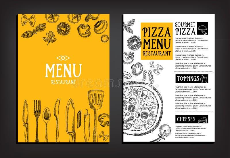 Folheto do restaurante do menu do café Molde do projeto do alimento ilustração royalty free