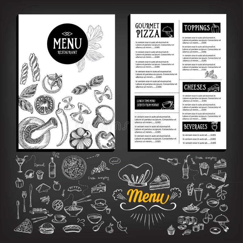 Folheto do restaurante do menu do café Molde do projeto do alimento ilustração stock