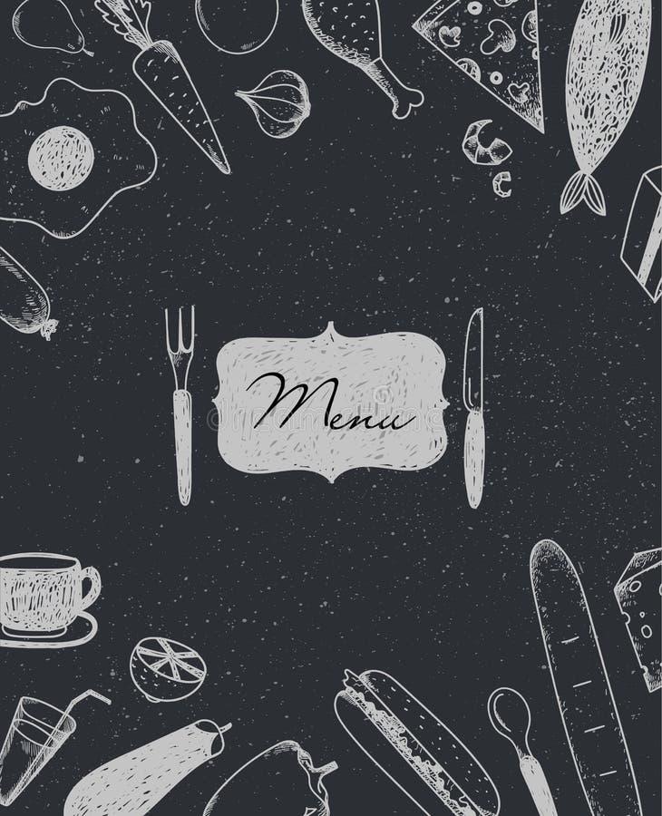 Folheto do restaurante do vetor, projeto do menu Molde do café com gráfico desenhado à mão ilustração royalty free