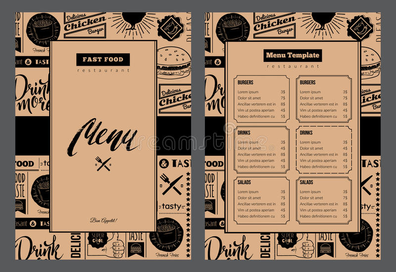 folheto do restaurante Ilustração do vetor com projeto do menu ilustração stock