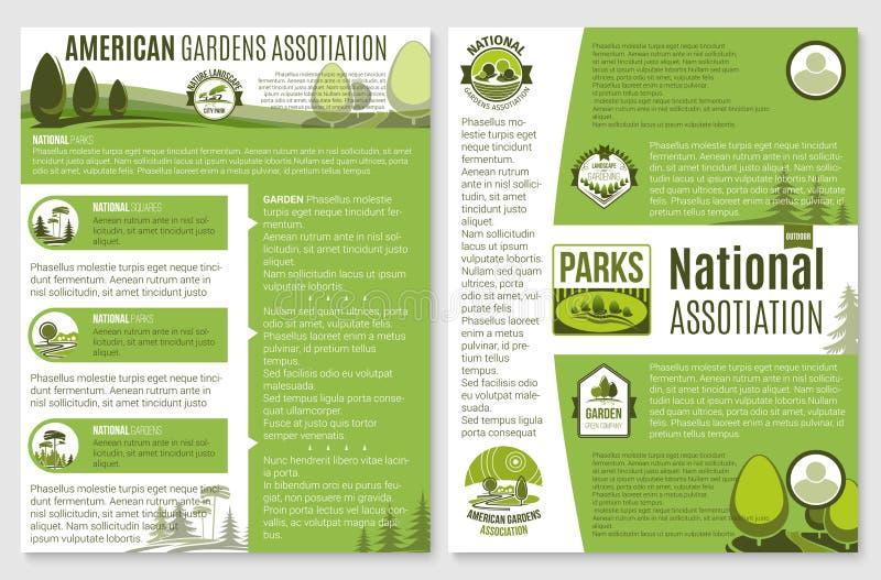 Folheto do vetor para a paisagem ou a empresa de jardinagem ilustração royalty free