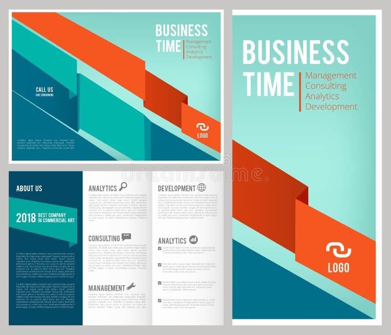 Folheto dobrável em três partes do negócio a tampa e as páginas de 3 folhetos projetam a revista de negócios do molde com lugar p ilustração stock