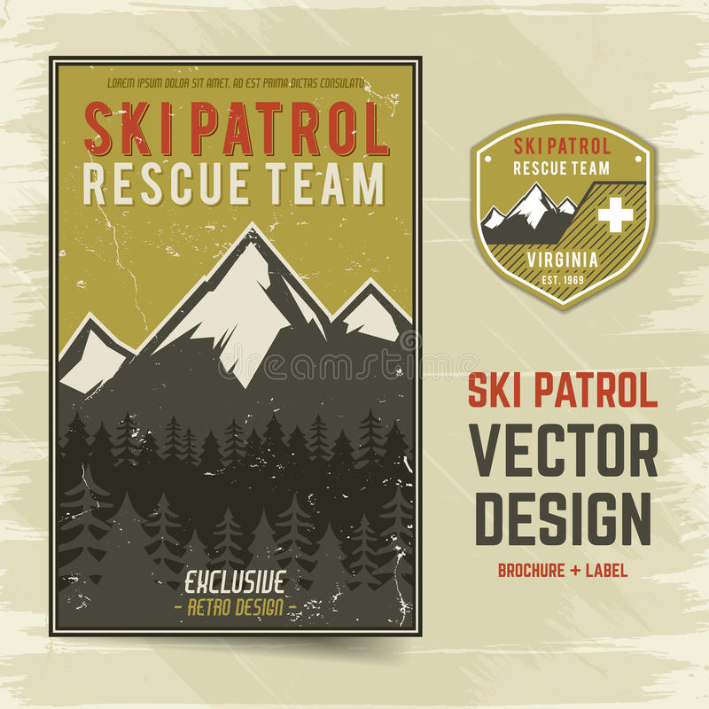 Folheto e etiqueta do vetor da patrulha do esqui O conceito do acampamento do inseto para seu negócio, sites, apresentações, anun ilustração stock