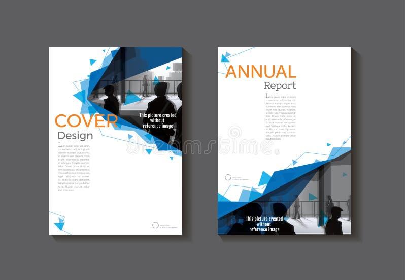 Folheto moderno do sumário da tampa do molde azul do livro da tampa, projeto, ilustração do vetor